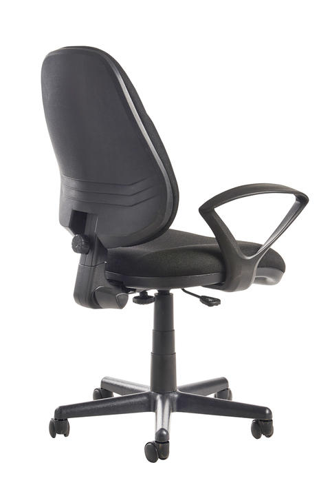 Image of Bilbao fabric operators chair with lumbar support and fixed arms - black