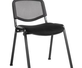 Taurus mesh back meeting room stackable chair with no arms - black