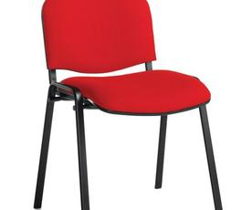 Taurus meeting room stackable chair with black frame and no arms - red