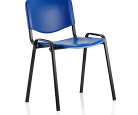 ISO Stacking Chair Blue Poly Black Frame Without Arms
