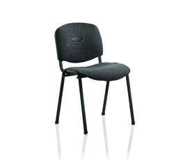 ISO Stacking Chair Charcoal Fabric Black Frame Without Arms