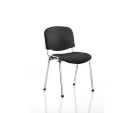 ISO Stacking Chair Black Fabric Chrome Frame Without Arms