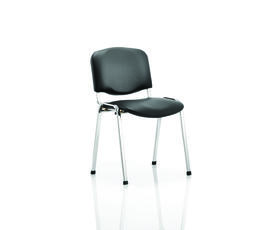 ISO Stacking Chair Black Vinyl Chrome Frame Without Arms