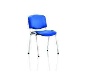 ISO Stacking Chair Blue Vinyl Chrome Frame Without Arms