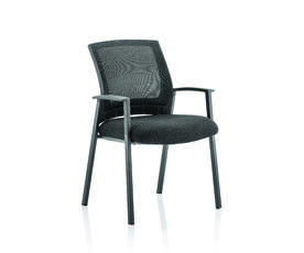 Metro Visitor Chair Black Fabric Black Mesh Back With Arms