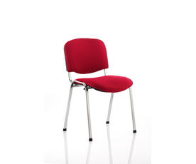 ISO Stacking Chair Wine Fabric Chrome Frame Without Arms