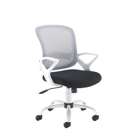 Image of Tyler mesh back operator chair with white frame