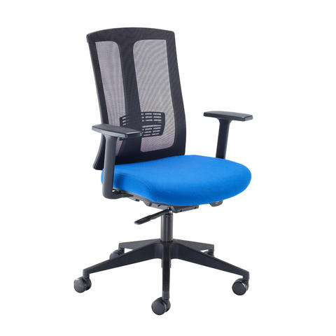Image of Ronan mesh back operators chair with fixed arms - blue