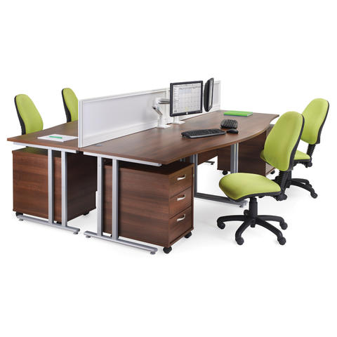 Image of Maestro 25 straight desk 1000mm x 600mm - white cantilever leg frame and walnut top