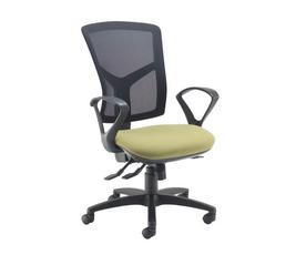 Senza high mesh back operator chair with fixed arms - charcoal