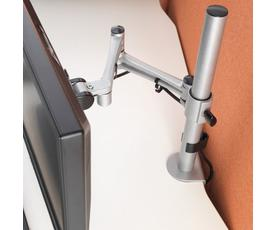 Luna single flat screen monitor arm - silver