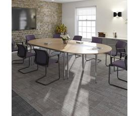 Rectangular flexi table with graphite frame 1600mm x 800mm - oak