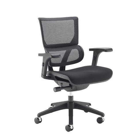 Image of Dynamo mesh back posture chair with black frame and black airmex seat