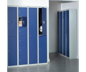Bisley lockers with 6 doors 305mm deep - grey with blue doors