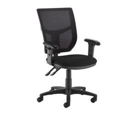 Altino 2 lever high mesh back operators chair with adjustable arms - black